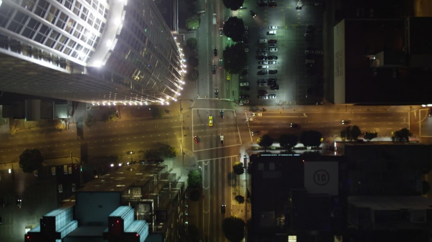 5K stock footage aerial video bird's eye view following South Figueroa Street in Los Angeles at night, California Aerial Stock Footage | DCA01_038