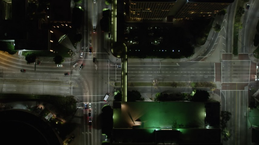 5K aerial video bird's eye view tracking cars on South Figueroa Street at night, Los Angeles, California Aerial Stock Footage | DCA01_041