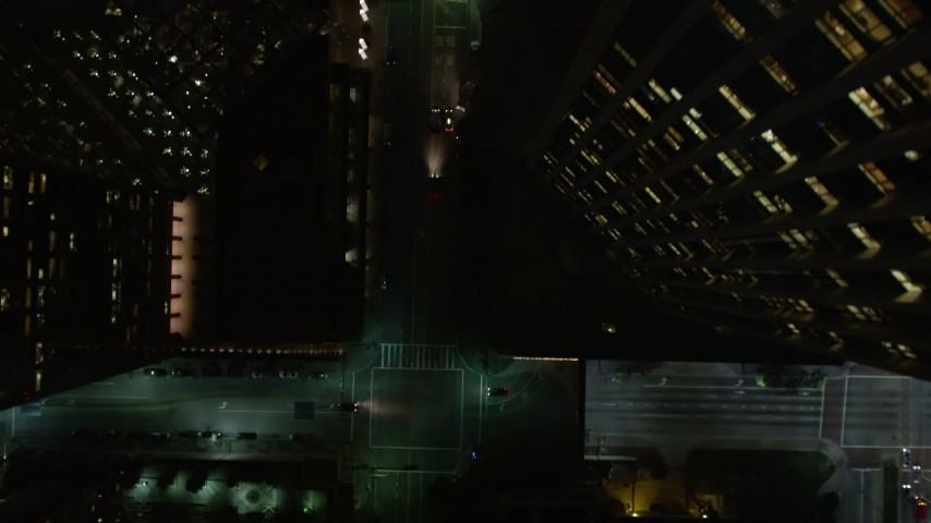 5K stock footage aerial video bird's eye view of South Hope Street at night, Downtown Los Angeles, California Aerial Stock Footage | DCA01_042