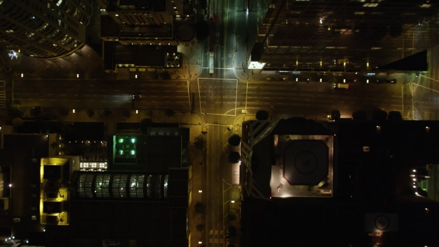 5K stock footage aerial video bird's eye view of South Grand Avenue at night, Downtown Los Angeles, California Aerial Stock Footage | DCA01_047