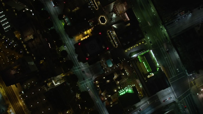 5K aerial video bird's eye view of Downtown Los Angeles at night, California Aerial Stock Footage | DCA01_050