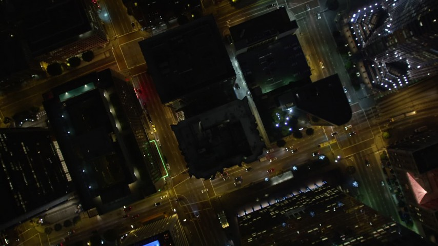 5K aerial video bird's eye view of Downtown Los Angeles at night, California Aerial Stock Footage | DCA01_051