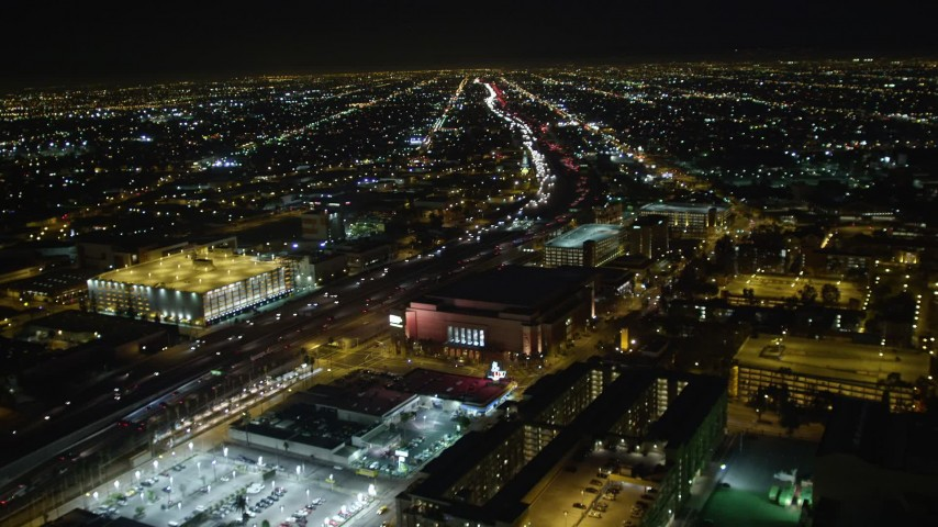 5K aerial video approaching and following Los Angeles Highway 110 at night, California Aerial Stock Footage | DCA01_060
