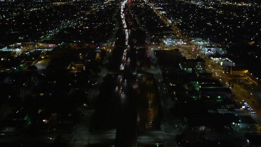 5K aerial video following Highway 110 in Los Angeles at night, California Aerial Stock Footage | DCA01_061