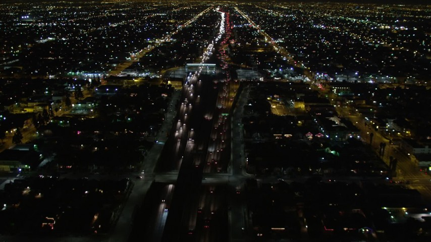 5K aerial video following Highway 110 in Los Angeles at night, California Aerial Stock Footage | DCA01_062