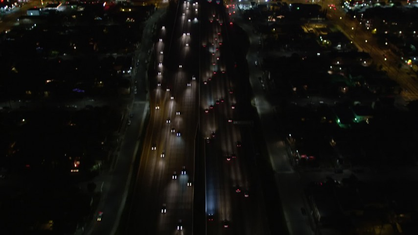 5K aerial video bird's eye view of Highway 110 at night, Los Angeles, California Aerial Stock Footage | DCA01_063
