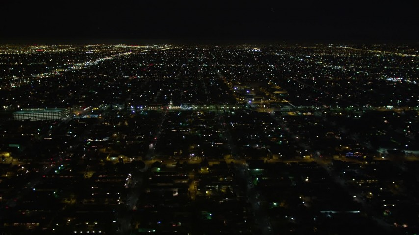 5K aerial video flying by a residential neighborhood at night, Los Angeles, California Aerial Stock Footage | DCA01_064