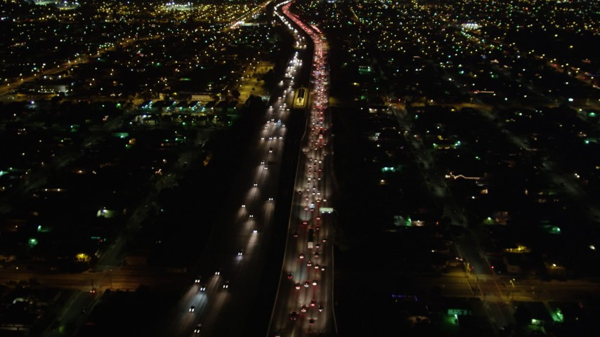 5K stock footage aerial video following I-105 at night, Hawthorne, California Aerial Stock Footage | DCA01_068