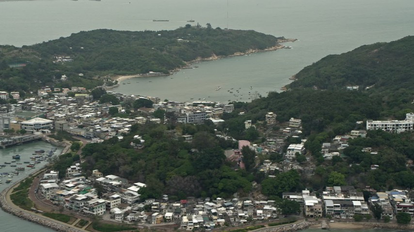 4K stock footage aerial video of ferries by Peng Chau Island, Outlying Islands, Hong Kong, China Aerial Stock Footage DCA02_007 | Axiom Images