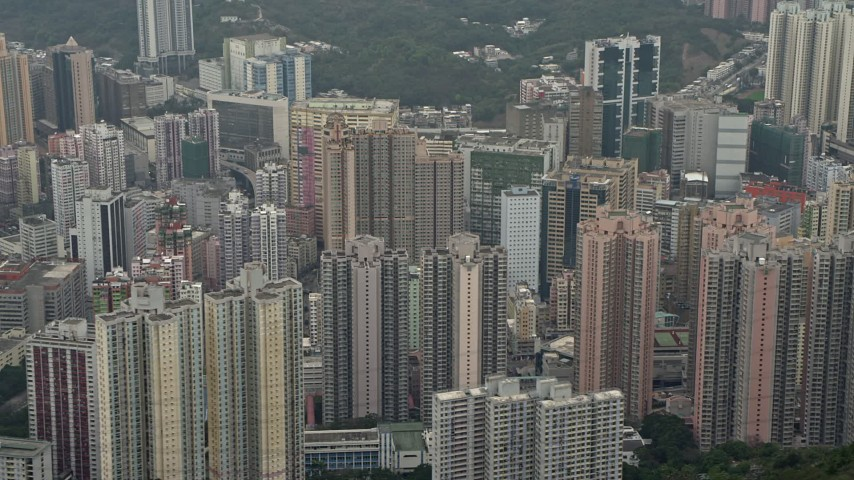 4K stock footage aerial video flyby Kwai Chung apartment complexes, Hong Kong, China Aerial Stock Footage | DCA02_020