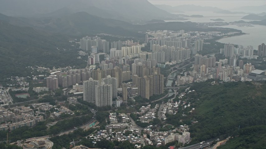 4K stock footage aerial video of apartment buildings in in Tai Po in the New Territories, Hong Kong, China Aerial Stock Footage | DCA02_028