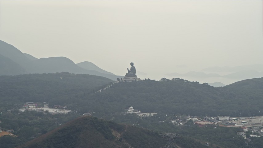 4K stock footage aerial video of Tian Tan Buddha statue on Lantau Island, Hong Kong, China Aerial Stock Footage | DCA02_039