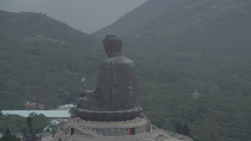 4K stock footage aerial video of an orbit of the Tian Tan Buddha statue on Lantau Island, Hong Kong, China Aerial Stock Footage DCA02_041 | Axiom Images