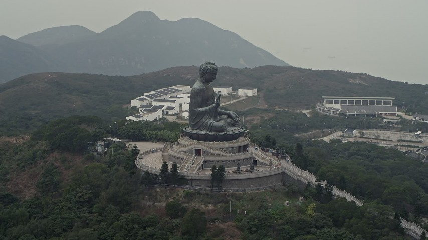 4K stock footage aerial video of an orbit around the Tian Tan Buddha statue on Lantau Island, Hong Kong, China Aerial Stock Footage | DCA02_042