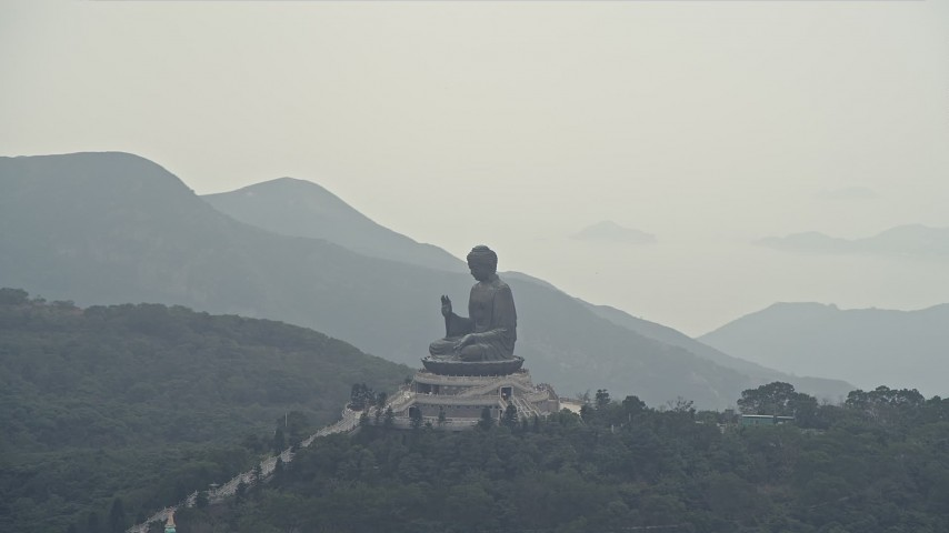 4K stock footage aerial video of orbiting around the Tian Tan Buddha statue on Lantau Island, Hong Kong, China Aerial Stock Footage | DCA02_043