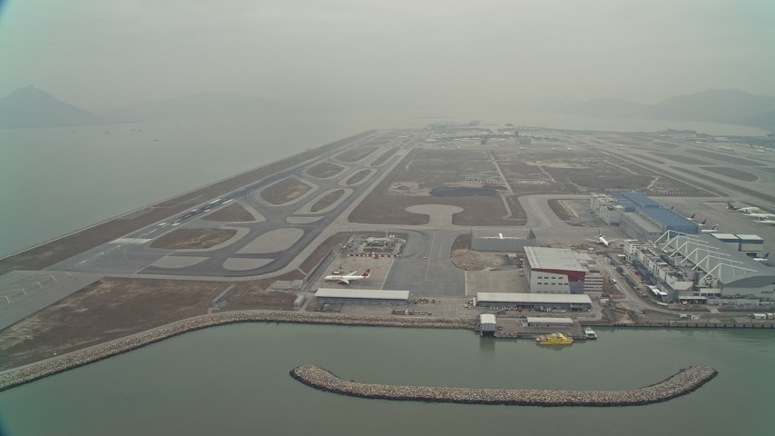 4K stock footage aerial video of maintenance buildings and runways at Hong Kong International Airport, Hong Kong, China Aerial Stock Footage | DCA02_049