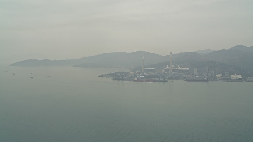 4K stock footage aerial video of Castle Peak Power Station seen from the South China Sea, New Territories, Hong Kong, China Aerial Stock Footage | DCA02_053