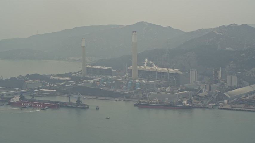 4K stock footage aerial video flyby Castle Peak Power Station, New Territories, Hong Kong, China Aerial Stock Footage | DCA02_054