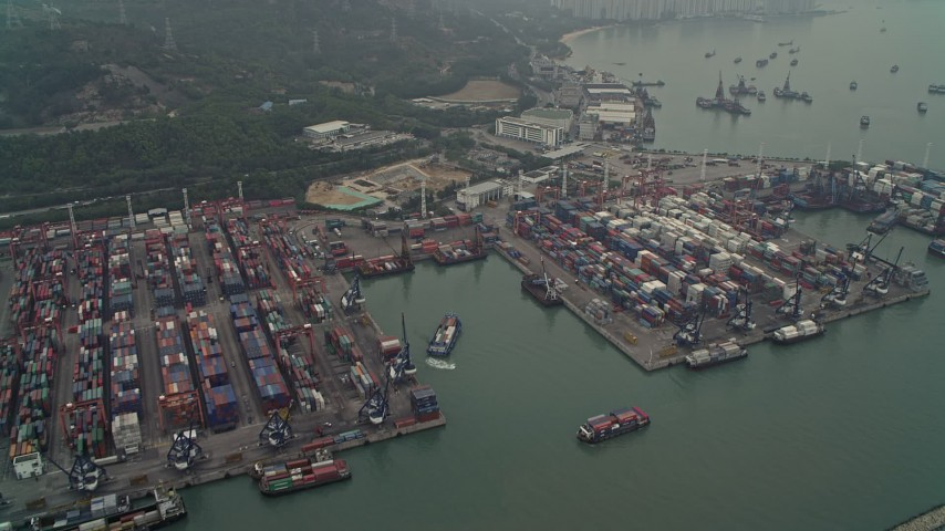 4K stock footage aerial video of barges and cargo containers at Pillar Point port, New Territories, Hong Kong, China Aerial Stock Footage | DCA02_056