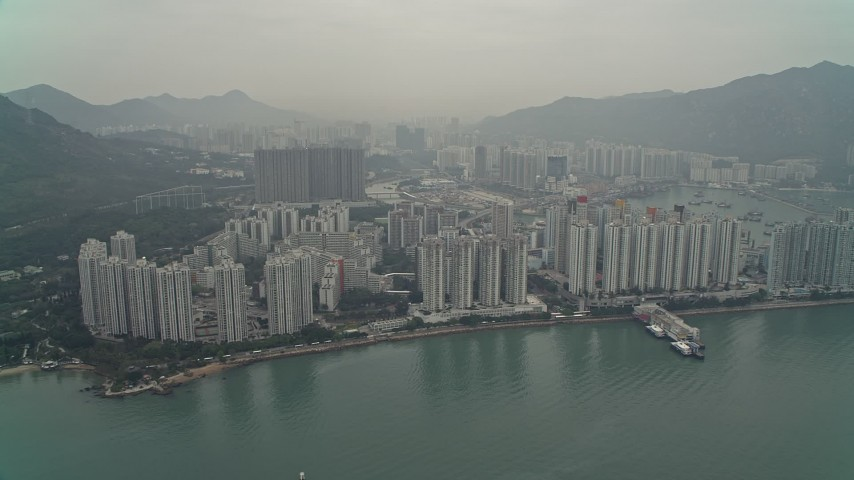 4K stock footage aerial video of waterfront apartments high-rises New Territories, Hong Kong, China Aerial Stock Footage | DCA02_058