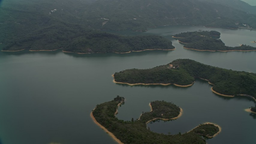 Tai Lam Chung Reservoir in New Territories, Hong Kong, China Aerial Stock Footage | DCA02_066