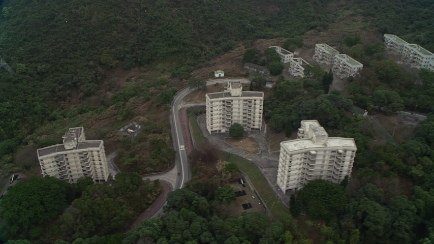 4K stock footage aerial video of People's Liberation Army barracks in New Territories, Hong Kong, China Aerial Stock Footage   DCA02_072