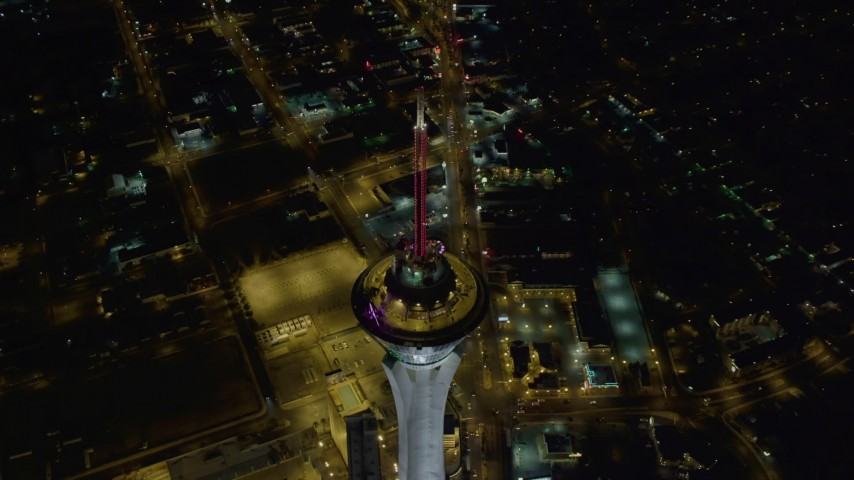 4K stock footage aerial video of a bird's eye view of Stratosphere, Las Vegas, Nevada Night Aerial Stock Footage | DCA03_005
