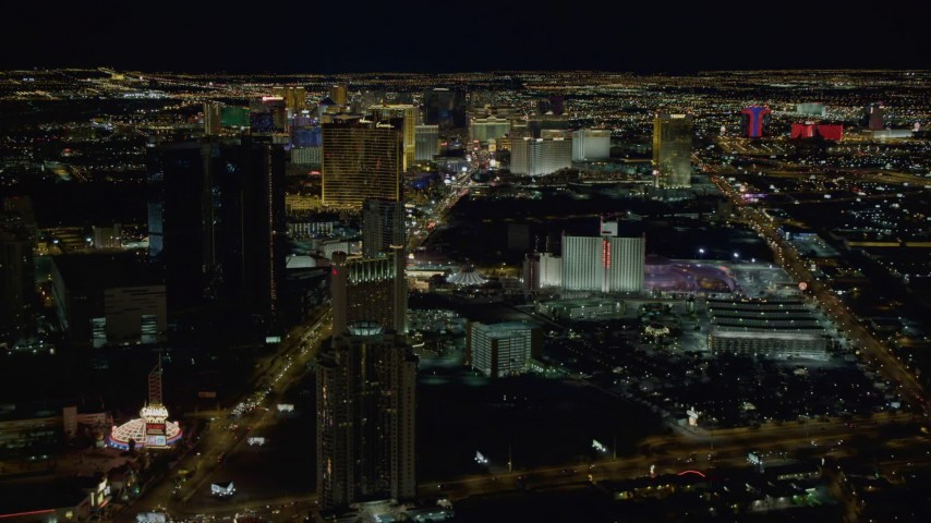 4K aerial video of hotels along Las Vegas Strip, Las Vegas, Nevada Night Aerial Stock Footage | DCA03_011
