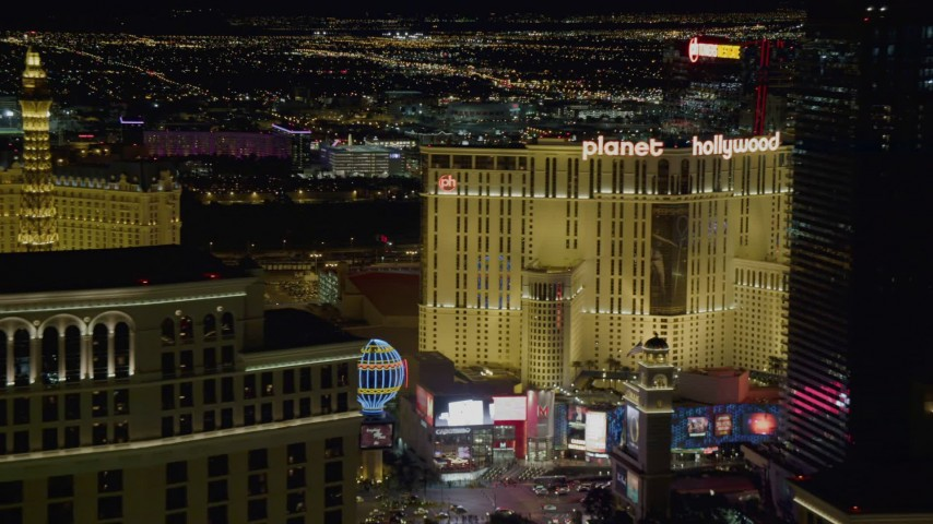 4K stock footage aerial video of the Las Vegas Strip, from Paris and Bellagio to Planet Hollywood, Las Vegas, Nevada Night Aerial Stock Footage | DCA03_012