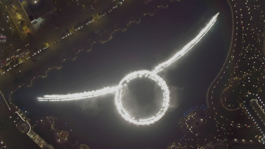 4K stock footage aerial video of orbiting Bellagio Fountain water show, Las Vegas, Nevada Night Aerial Stock Footage DCA03_024 | Axiom Images