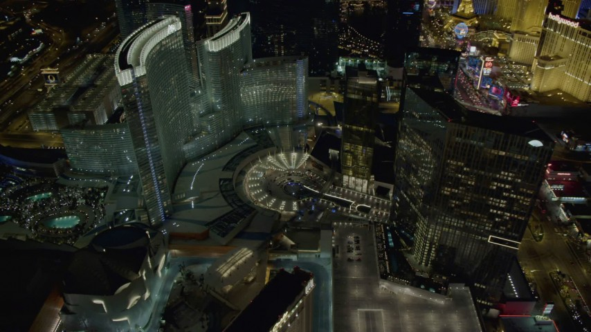 4K stock footage aerial video of orbiting Aria Resort, Mandarin Oriental, Veer Towers, Las Vegas, Nevada Night Aerial Stock Footage | DCA03_030