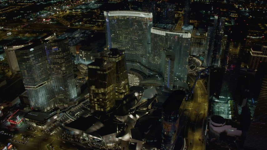 4K stock footage aerial video of orbiting Aria Resort, Mandarin Oriental, Veer Towers, Las Vegas, Nevada Night Aerial Stock Footage | DCA03_032