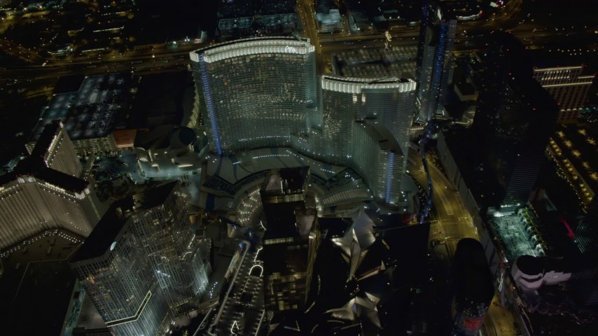 4K stock footage aerial video of orbiting Aria Resort, Veer Towers, Mandarin Oriental, Las Vegas, Nevada Night Aerial Stock Footage | DCA03_037
