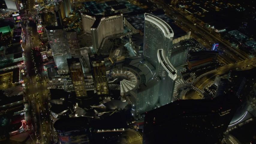 4K stock footage aerial video of orbiting Aria Resort, Veer Towers, Mandarin Oriental, Las Vegas, Nevada Night Aerial Stock Footage DCA03_038 | Axiom Images