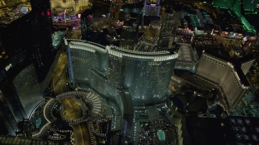 4K stock footage aerial video of orbiting Aria Resort and Casino, Las Vegas, Nevada Night Aerial Stock Footage | DCA03_040