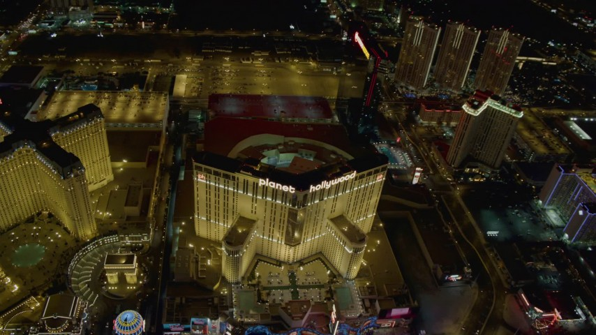 4K stock footage aerial video of orbiting Planet Hollywood Resort and Casino, Las Vegas, Nevada Night Aerial Stock Footage | DCA03_043