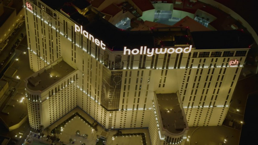 4K stock footage aerial video of orbiting the front of Planet Hollywood Resort and Casino, Las Vegas, Nevada Night Aerial Stock Footage | DCA03_045