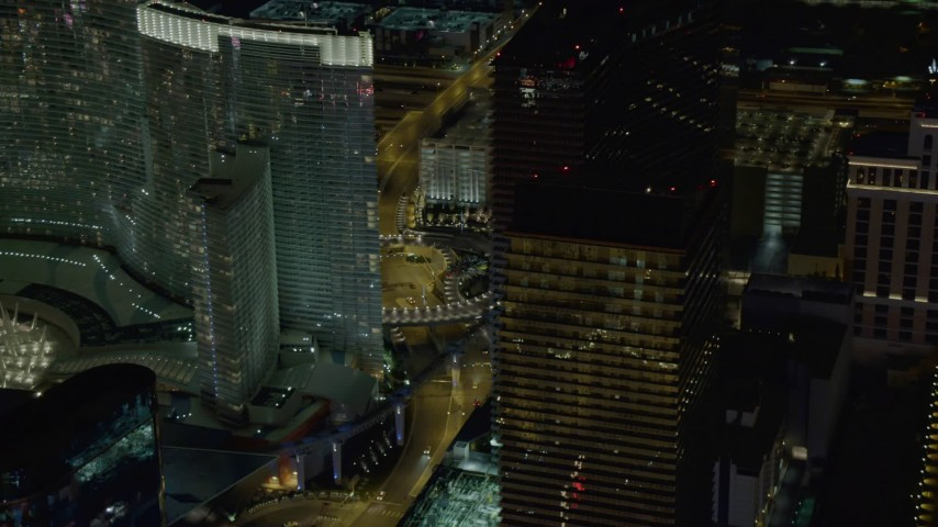 4K stock footage aerial video of the Cosmopolitan, Aria Resort and Casino, Las Vegas, Nevada Night Aerial Stock Footage | DCA03_046