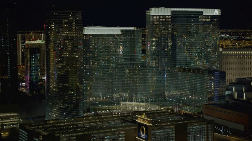 4K stock footage aerial video of approaching Aria Resort and Casino, Las Vegas, Nevada Night Aerial Stock Footage DCA03_049   Axiom Images
