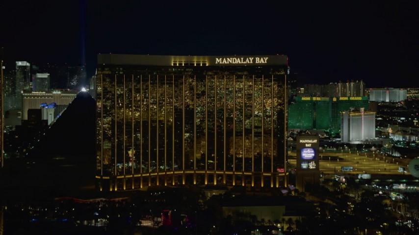 4K stock footage aerial video of Mandalay Bay, Las Vegas, Nevada Night Aerial Stock Footage | DCA03_053
