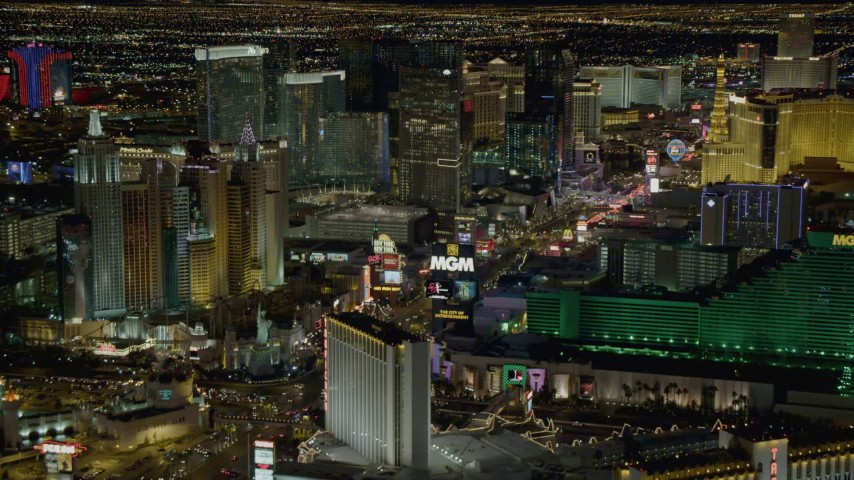 4K stock footage aerial video of flying by New York New York, Aria, MGM Grand, Las Vegas, Nevada Night Aerial Stock Footage | DCA03_057