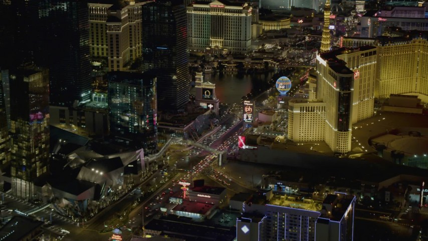 4K aerial video of Las Vegas Boulevard with hotels, Las Vegas, Nevada Night Aerial Stock Footage | DCA03_059