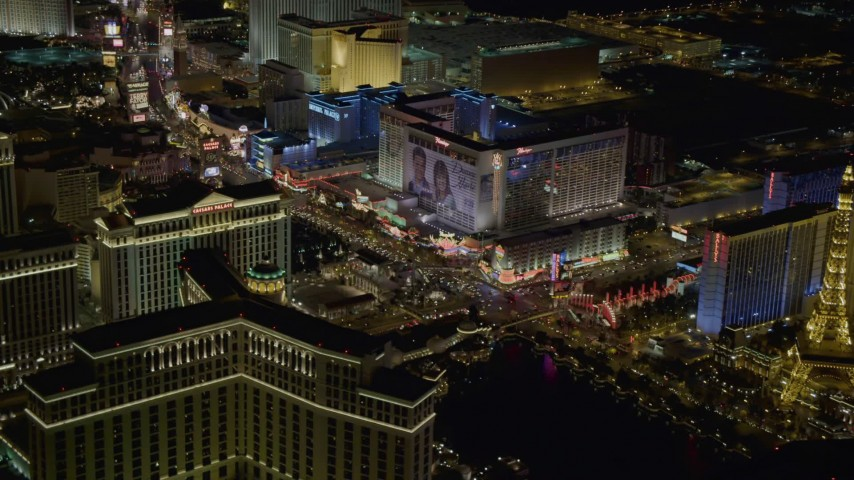 4K stock footage aerial video of Las Vegas Boulevard with hotels, Las Vegas, Nevada Night Aerial Stock Footage | DCA03_062