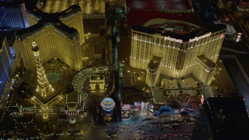 4K stock footage aerial video of flying by Paris, Planet Hollywood, Polo Towers, Las Vegas, Nevada Night Aerial Stock Footage DCA03_070