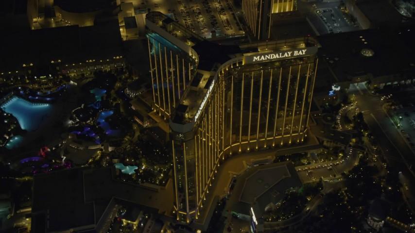 4K stock footage aerial video of orbiting Mandalay Bay, Las Vegas, Nevada Night Aerial Stock Footage DCA03_072 | Axiom Images