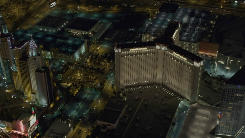 4K stock footage aerial video pan across New York New York, Monte Carlo, Aria, Mandarin Oriental, Veers Towers, Las Vegas, Nevada Night Aerial Stock Footage | DCA03_075
