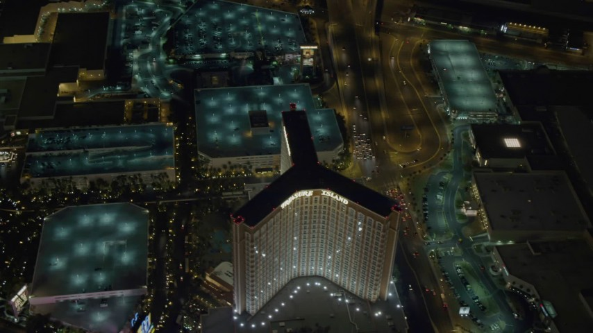 4K stock footage aerial video of flying by The Mirage, revealing Treasure Island, Las Vegas, Nevada Night Aerial Stock Footage | DCA03_079
