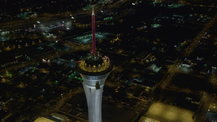 4K stock footage aerial video of orbiting top of Stratosphere, Las Vegas, Nevada Night Aerial Stock Footage | DCA03_082