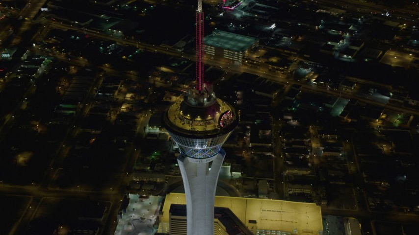 4K stock footage aerial video of orbiting top of Stratosphere, Las Vegas, Nevada Night Aerial Stock Footage | DCA03_083