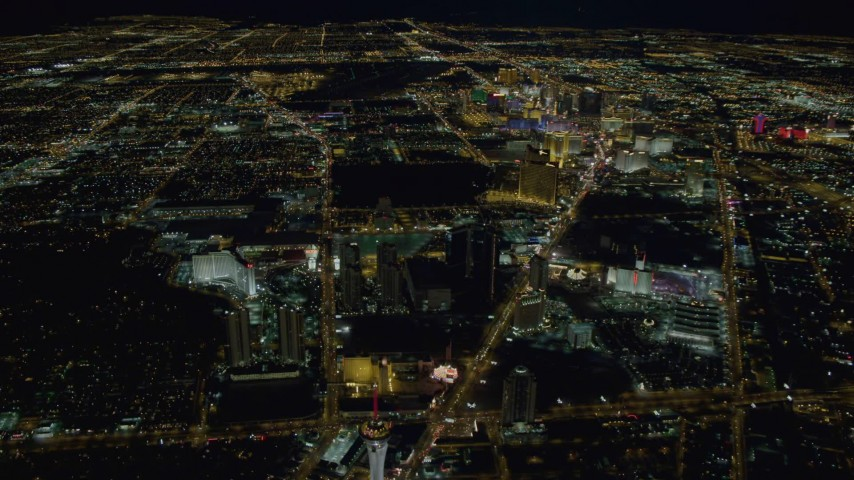 4K stock footage aerial video of Las Vegas city sprawl, Nevada Night Aerial Stock Footage | DCA03_085